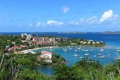 Cruz Bay, St. John, US Virgin Islands view from above Stock Images