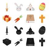 Cruz, biblia, regalo y zanahorias Iconos determinados de la colección de Pascua en el negro, web del ejemplo de la acción del sím stock de ilustración