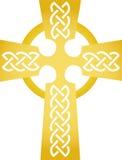 Cruz céltica de oro/EPS Imágenes de archivo libres de regalías