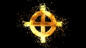 Cruz céltica de oro, símbolo religioso pagano en fondo transparente stock de ilustración