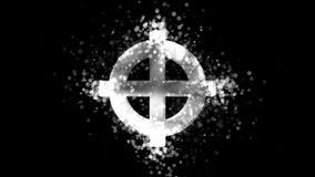 Cruz céltica de plata, símbolo religioso pagano en fondo transparente ilustración del vector