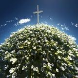 Cruz cercada por flores Fotos de Stock