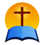 Cruz com a Bíblia ilustração stock