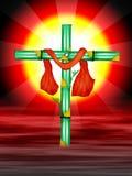 Cruz com céu vermelho ilustração royalty free