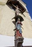 Cruz com Jesus Christ e a Virgem Maria fotografia de stock royalty free
