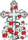 Cruz com rosas Fotos de Stock Royalty Free
