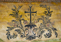 Cruz com símbolos Imagens de Stock
