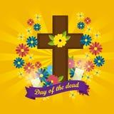 Cruz com velas e flores ao dia dos mortos ilustração royalty free