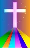 Cruz con el arco iris de la promesa Foto de archivo libre de regalías