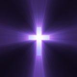 Cruz con las flamas ligeras púrpuras Imagenes de archivo