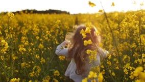 Cruz corriente de la muchacha el campo en la puesta del sol Cámara lenta almacen de video