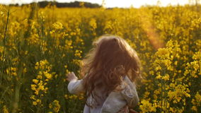 Cruz corriente de la muchacha el campo en la puesta del sol Cámara lenta almacen de metraje de vídeo