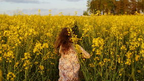 Cruz corriente de la muchacha el campo en la puesta del sol Cámara lenta