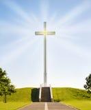 Cruz cristã de brilho Fotografia de Stock Royalty Free