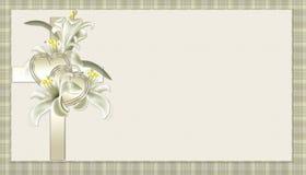 Cruz cristã do ouro com fundo das flores ilustração stock