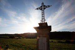 Cruz cristã metálica Imagens de Stock