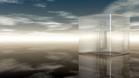 Cruz cristã no cubo de vidro Fotografia de Stock Royalty Free