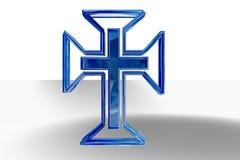 Cruz cristiana azul Fotos de archivo libres de regalías