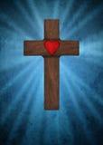 Cruz cristiana con el corazón Imagen de archivo libre de regalías