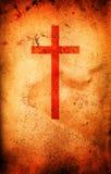 Cruz cristiana en el pergamino Fotos de archivo