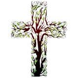 Cruz cristiana floral, dimensión de una variable del árbol Foto de archivo
