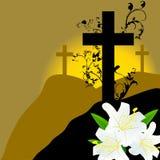 Cruz cristiana y lirio blanco tres Fotos de archivo