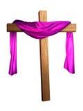 Cruz cubierta en púrpura Imagen de archivo libre de regalías