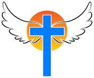 Cruz da cristandade com asas do anjo ilustração royalty free