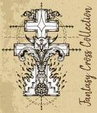 Cruz da fantasia com lata má, chama do inferno e teste padrão sagrado da geometria ilustração royalty free