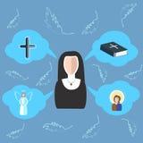 Cruz da freira, a Bíblia, anjo, ícone, nuvens ilustração stock