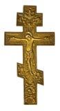 Cruz de bronze antiga com Christ crucified fotografia de stock royalty free