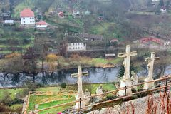 Cruz de calvário Znojmo, República Checa Fotos de Stock Royalty Free