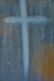 Cruz de descoloramiento en una piedra de mármol Fotografía de archivo libre de regalías