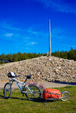 Cruz de Ferro top at Saint James Way Leon bikes Royalty Free Stock Images