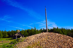 Cruz de Ferro top at Saint James Way Leon. Spain Royalty Free Stock Images