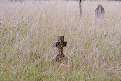 Cruz de la lápida mortuaria descuidada en hierba larga Imagen de archivo