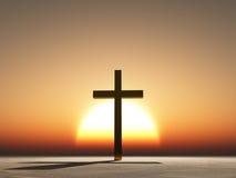 Cruz de la puesta del sol o de la salida del sol Fotografía de archivo