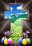 Cruz de la resurrección nuestra manera al cielo Foto de archivo