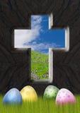 Cruz de la victoria con manera abierta al cielo Imagen de archivo libre de regalías