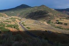 Cruz de las pistas de ferrocarril Foto de archivo