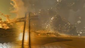 Cruz de madeira contra o céu Fotografia de Stock