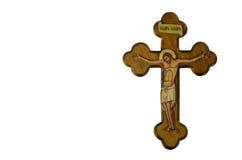 Cruz de madera con la crucifixión Foto de archivo libre de regalías
