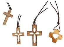 Cruz de madera cuatro aislada Fotografía de archivo