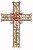 Cruz de oro con el elemento rojo Imagenes de archivo