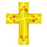 Cruz de oro con el objeto rubby rojo Fotos de archivo libres de regalías