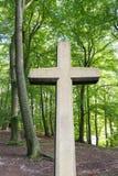 Cruz de pedra na floresta Fotografia de Stock