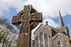 Cruz de piedra céltica Foto de archivo