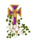 Cruz del fondo de Pascua y lirios de Madonna Fotos de archivo libres de regalías