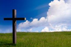 Cruz del Jesucristo Fondo de la resurrección de Pascua, concepto fotografía de archivo