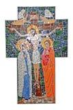 Cruz del mosaico con crucifijo Imágenes de archivo libres de regalías